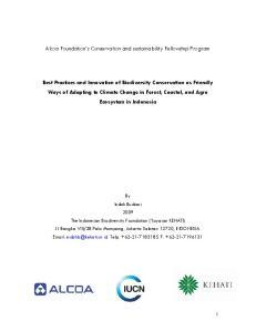Alcoa Foundation s Conservation and sustainability Fellowship Program