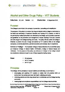 Alcohol and Other Drugs Policy VET Students