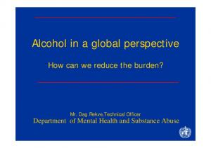 Alcohol in a global perspective