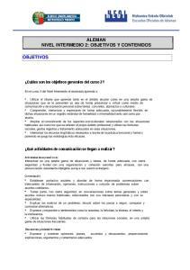 ALEMAN NIVEL INTERMEDIO 2: OBJETIVOS Y CONTENIDOS