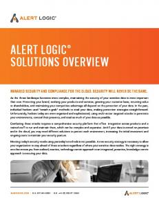 ALERT LOGIC SOLUTIONS OVERVIEW