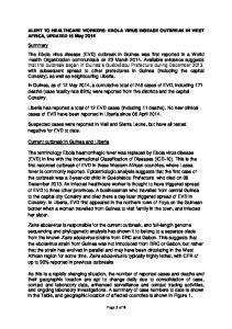 ALERT TO HEALTHCARE WORKERS: EBOLA VIRUS DISEASE OUTBREAK IN WEST AFRICA, UPDATED 16 May 2014