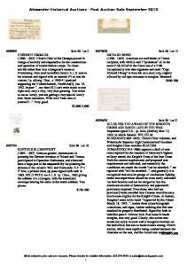 Alexander Historical Auctions - Post Auction Sale September 2013