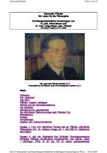 Alexander Pfänder. Ein Leben für die Philosophie. Familiengeschichtliche Forschungen von Dr. phil. Alfred Meyer und Dr. med. Helga Meyer, geb