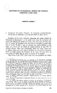 ALFONSO DE PARADINAS, OBISPO DE CIUDAD RODRIGO ( )