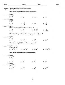Algebra 1 Spring Semester Final Exam Review