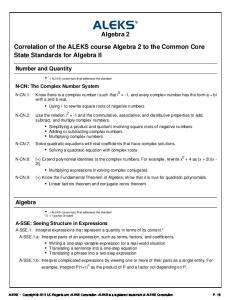 Algebra 2. Correlation of the ALEKS course Algebra 2 to the Common Core State Standards for Algebra II