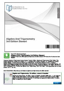 Algebra And Trigonometry 3rd Edition Stewart