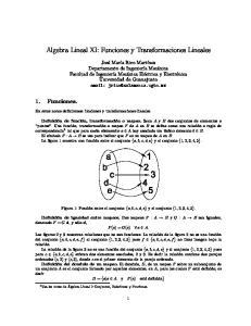 Algebra Lineal XI: Funciones y Transformaciones Lineales