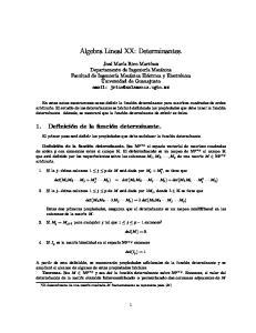 Algebra Lineal XX: Determinantes