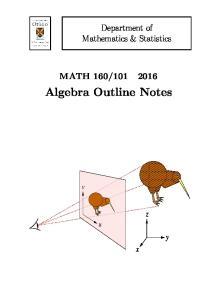 Algebra Outline Notes