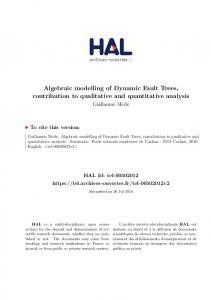 Algebraic modelling of Dynamic Fault Trees, contribution to qualitative and quantitative analysis