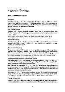 Algebraic Topology. The Fundamental Group