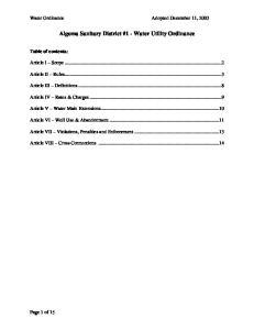 Algoma Sanitary District #1 - Water Utility Ordinance