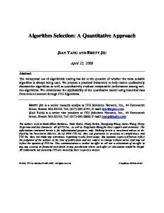 Algorithm Selection: A Quantitative Approach