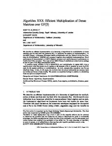 Algorithm XXX: Efficient Multiplication of Dense Matrices over GF(2)