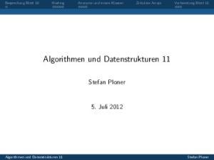 Algorithmen und Datenstrukturen 11