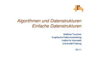 Algorithmen und Datenstrukturen Einfache Datenstrukturen