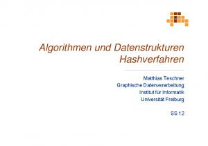 Algorithmen und Datenstrukturen Hashverfahren