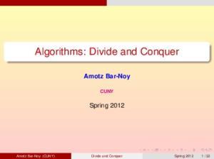 Algorithms: Divide and Conquer