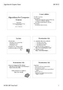 Algorithms for Computer Games