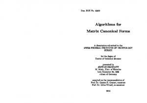 Algorithms for Matrix Canonical Forms
