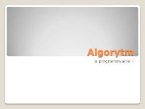 Algorytm. a programowanie -