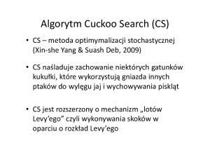 Algorytm Cuckoo Search (CS)