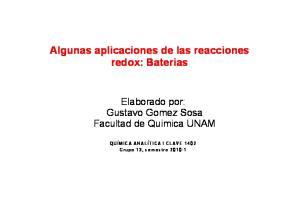 Algunas aplicaciones de las reacciones redox: Baterias
