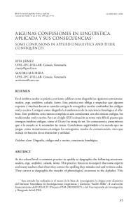 ALGUNAS CONFUSIONES EN LINGÜÍSTICA APLICADA Y SUS CONSECUENCIAS 1