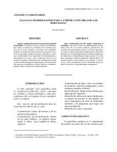 ALGUNAS CONSIDERACIONES PARA LA PRODUCCION ORGANICA DE HORTALIZAS 1