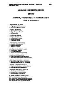 ALGUNAS CONSIDERACIONES SOBRE CIENCIA, TECNOLOGIA Y EMANCIPACION