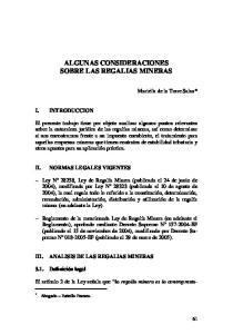 ALGUNAS CONSIDERACIONES SOBRE LAS REGALIAS MINERAS
