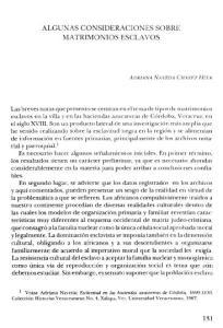 ALGUNAS CONSIDERACIONES SOBRE MATRIMONIOS ESCLAVOS