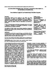 ALGUNAS REFLEXIONES PARA APLICAR LA MANUFACTURA ESBELTA EN EMPRESAS COLOMBIANAS