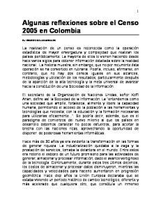 Algunas reflexiones sobre el Censo 2005 en Colombia