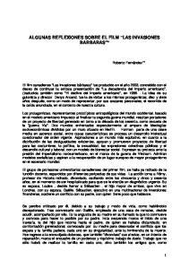 ALGUNAS REFLEXIONES SOBRE EL FILM LAS INVASIONES BARBARAS *