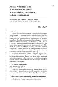 Algunas reflexiones sobre el problema de los valores, la objetividad y el compromiso en las ciencias sociales