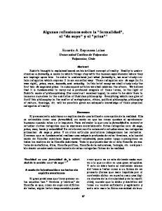 Algunas reflexiones sobre la formalidad, el de suyo y el prius 1