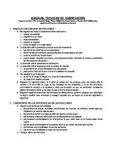 ALGUNAS TECNICAS DE NEGOCIACION
