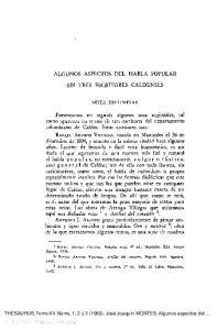 ALGUNOS ASPECTOS DEL HABLA POPULAR EN TRES ESCRITORES CALDENSES