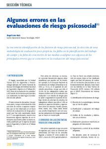 Algunos errores en las evaluaciones de riesgo psicosocial (1)