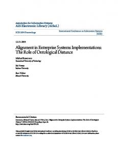 Alignment in Enterprise Systems Implementations: The Role of Ontological Distance