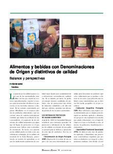 Alimentos y bebidas con Denominaciones de Origen y distintivos de calidad