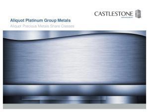 Aliquot Platinum Group Metals. Aliquot Precious Metals Share Classes