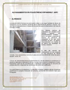 ALIVIANAMIENTOS EN POLIESTIRENO EXPANDIBLE (AEP)