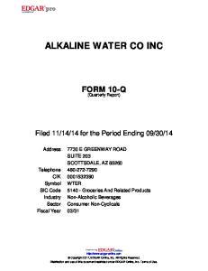 ALKALINE WATER CO INC