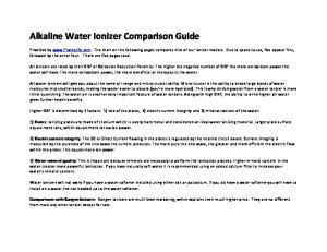 Alkaline Water Ionizer Comparison Guide