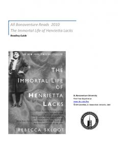 All Bonaventure Reads 2010 The Immortal Life of Henrietta Lacks