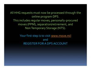 All HHG requests must now be processed through the